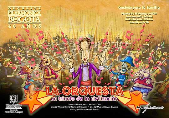 Diseño de cartel para temporada de conciertos didácticos de la orquesta filarmónica de Bogota