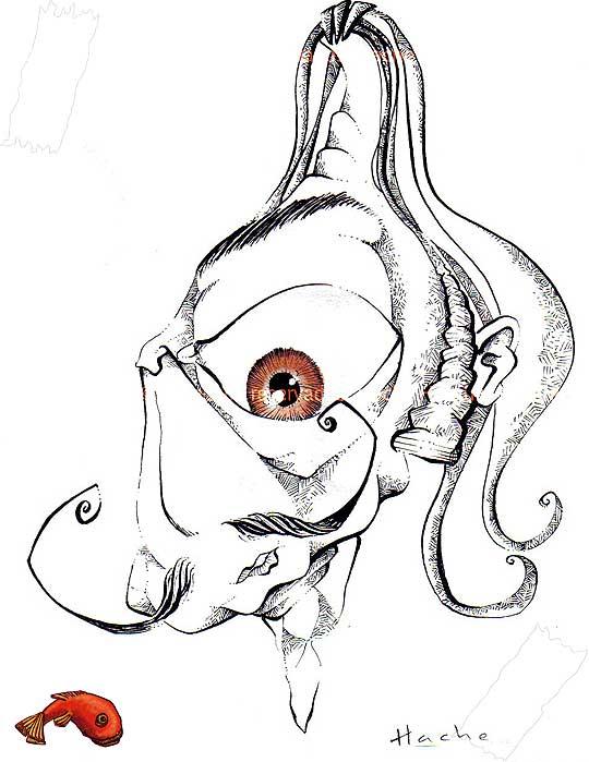 Caricatura de Dalí por Hache Holguín