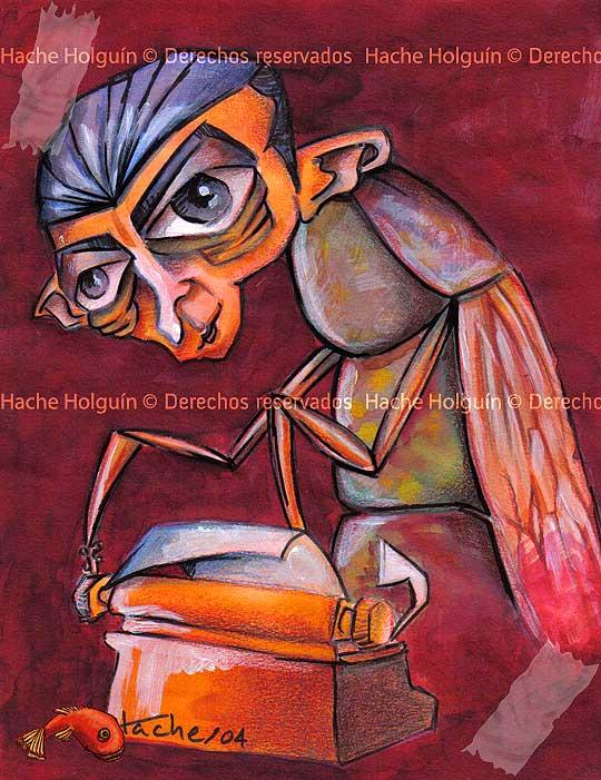 Caricatura de Franz Kafka por Hache Holguín