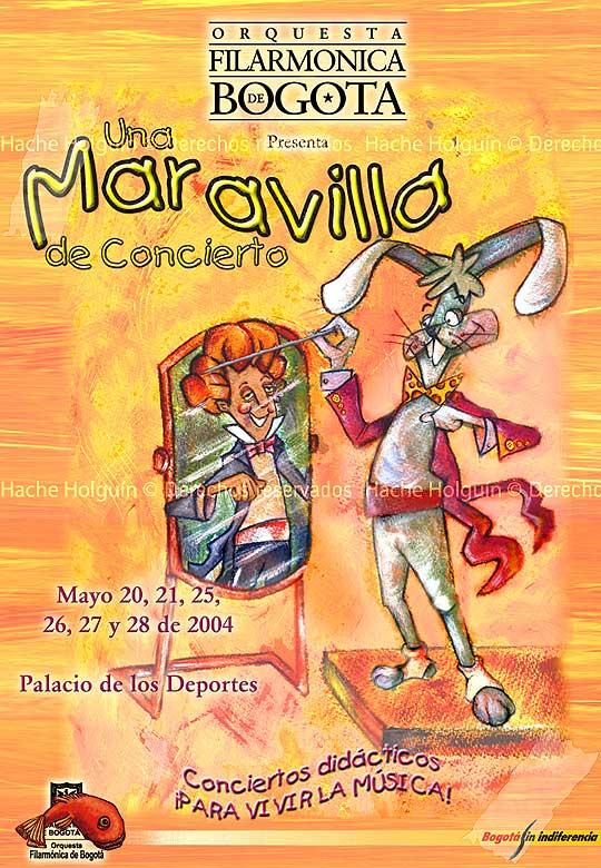 Diseño de Cartel para El concierto conejo de la Orquesta Filarmónica de Bogotá