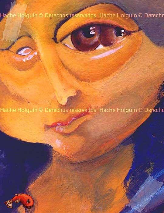 Detalle de Caricatura de la Monalisa por Hache Holguín