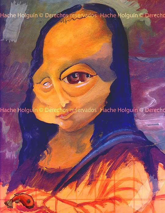 Caricatura de la Monalisa por Hache Holguín