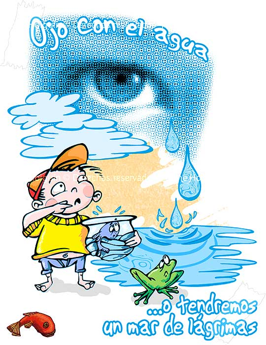 Ilustración vectorial sobre el uso del agua, por Hache Holguín