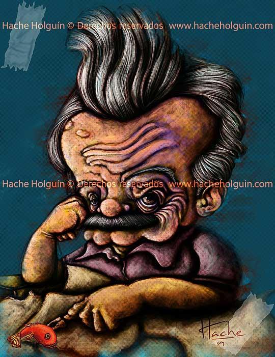 Caricatura de Mario Benedetti por Hache Holguín