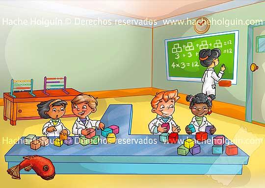 Ilustración infantil: Entrada unidad para matemáticas