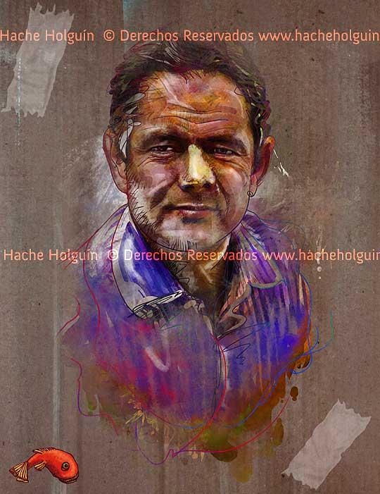 Retrato de German Vargas Lleras por Hache Holguín