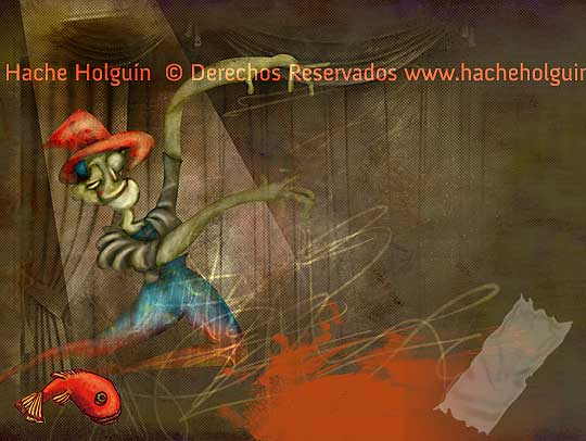 Ilustración: teatro por Hache Holguín