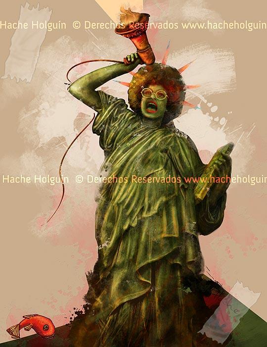 Poster Angela Davis. Por hache holguín