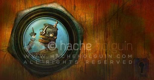 Ilustración. Robot chueco por Hache Holguín