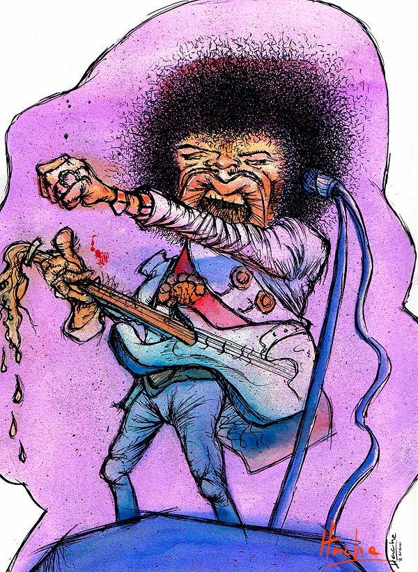 Caricatura de Julio Cortázar por Hache Holguin