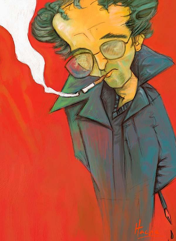 Caricatura de Roberto Bolaño por Hache Holguin