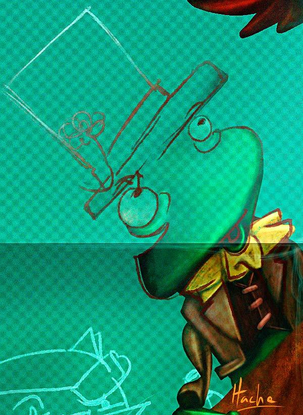 Caricatura. Rafael Pombo por Hache Holguín