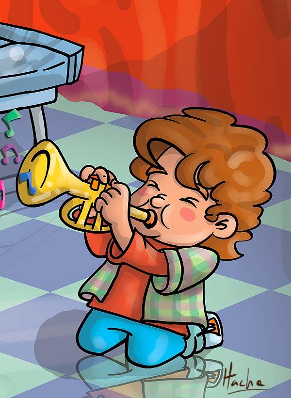 Ilustración. La banda musical, libro de kinder por Hache Holguin.