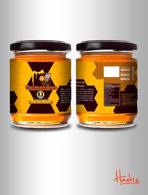 Diseño de etiqueta. Miel y polen por Hache Holguín
