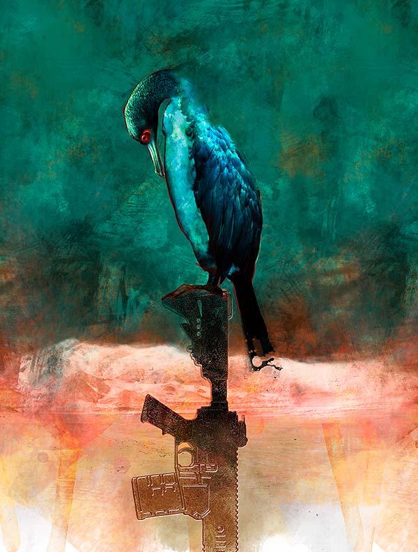Ilustración y diseño de portada. Aves hambrientas por Hache Holguín