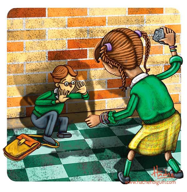 Ilustración infantil. Convivencia escolar por Hache Holguín
