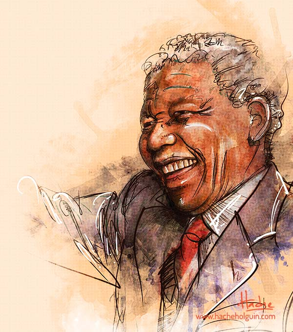 Retrato. Nelson Mandela por Hache Holguín