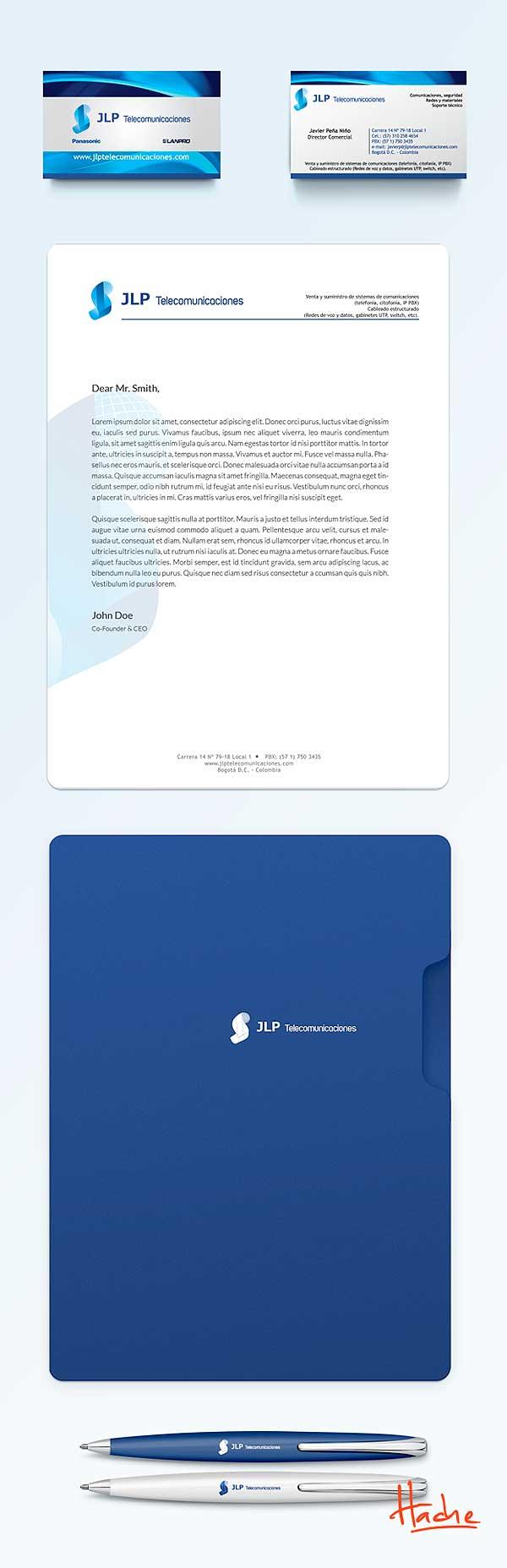 Imagen corporativa. JLP Telecomunicaciones por Hache Holguín