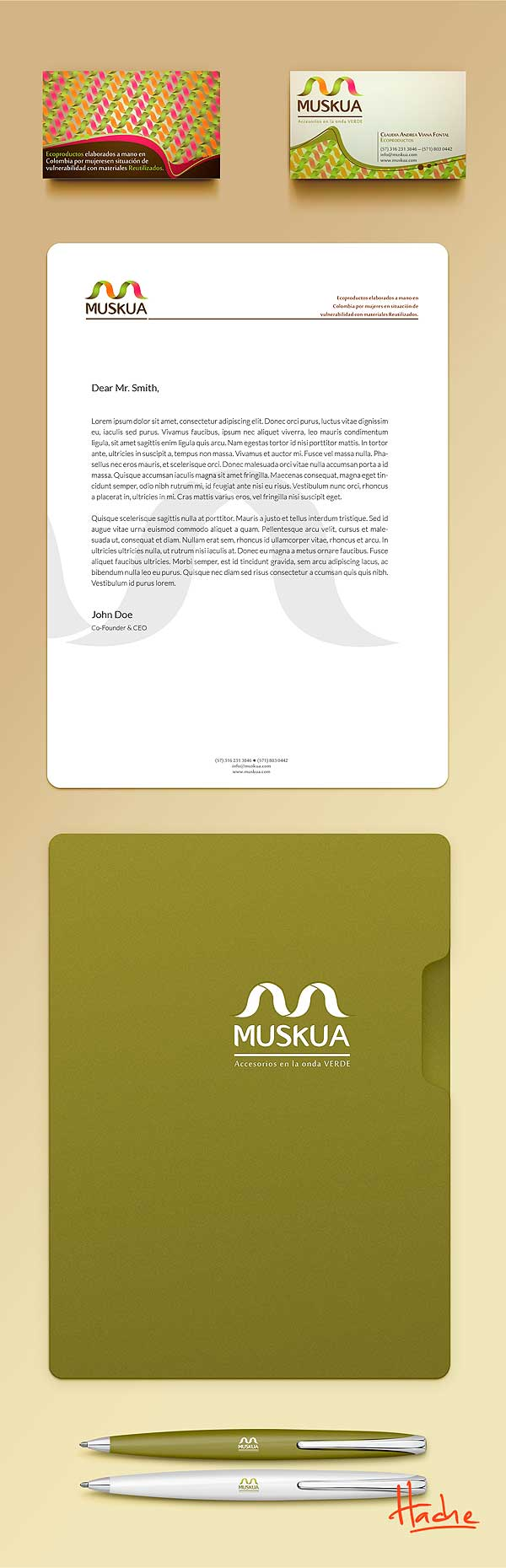 Imagen corporativa. Muskua accesorios por Hache Holguín